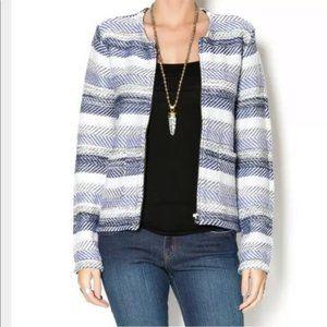 Joie  Jacket Blazer Jacolyn B Blue White Chevron Zipper Pockets